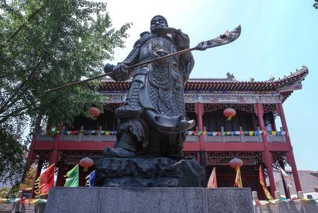 JINGZHOU, CHINA - Jun 7 2018: Guan Yu Statue. Guan Yu Temple. Travel in Jingzhou City. This temple famous for who love Three Kingdoms series. Especially Chinese name.