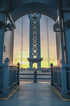 "Wuhan, China, JUN 6, 2018 Wuhan riverside shoal yangtze river bridge ,suspension bridge closeup, in here is the park ""GU TIAN QIAO"" it's a name of the bridge. The Blue Turquiose Bridge. Stock fotó"