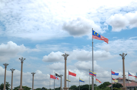 Flags of many nations, World national flags all over the world at the Putrajaya Malaysia. 版權商用圖片