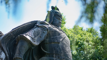 Wuhan Hubei, CHINA - September 08-2018: Wuhan Statue of the Yue Fei in Wuhan, China. He is national hero at ancient china kingdom.
