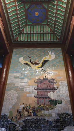 WUHAN/ CHINA - September 8, 2018: Inside The Yellow Crane tower at Wuhan Hubei China. It decorated by the color tile became to the crane fly to the sky.