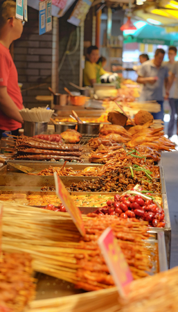 It's one one of the vendor in local street food.  Hubuxiang snack street, tasting Chinese characteristics snacks.