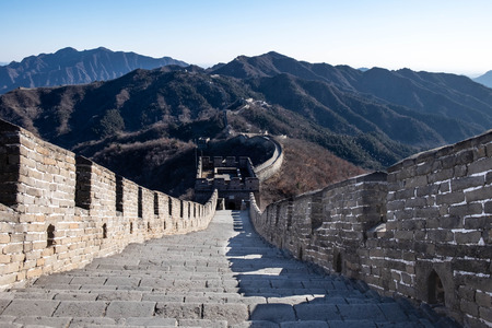 The great wall names MU TIAN YU. At the winter time. The most longest wall in the world.  At Beijing, China.