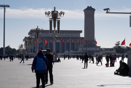 BEIJING CHINA- JAN 16, 2019: Many people in front of the Tiananmen Square, And many tourism in here. This here is one of the famous place for travel in Beijing, China.