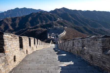 The great wall name's MU TIAN YU. At the winter time. The most longest wall in the world. At Beijing, China.