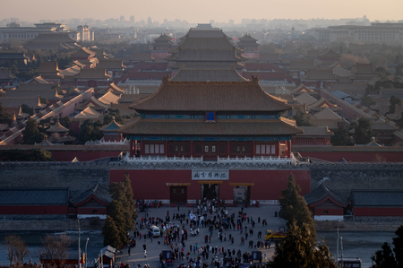 Beijing,China - JANUARY 13,  2019: The Forbidden palace at the Beijing City, China. The famous ancient Forbidden City,the Palace is the royal palace of Chinas Ming and Qing dynasties. View from above the Jingshan Park. 新聞圖片