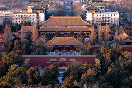 Beijing,China - JANUARY 13,  2019: The Forbidden palace at the Beijing City, China. The famous ancient Forbidden City,the Palace is the royal palace of China's Ming and Qing dynasties. View from above the Jingshan Park.