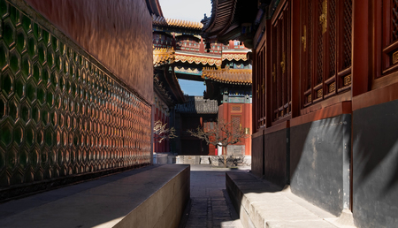 The Lama Temple Yonghe Lamasery on March 13 2009 in Beijing, China. Many visitors in here. This here one of the famous place for travel.