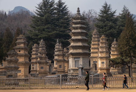 Dengfeng, HenanChina- JANUARY 20, 2019: Talin Pagodas, It's memorial of the high priest of Shaolin temple. Located in the part of Shaolin temple, Many People go to there for travel. Editorial