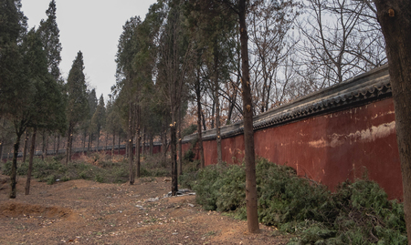 The old wall of the Shaolin Temple, The temple located at the Songshan Mountain.