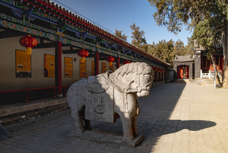 Luoyang, HenanChina- JANUARY 20, 2019: Guan Yu's horse Statue at Guanlin Temple. It's the place where the Guan Yu's head was bury. Guan Yu is the one of the God of Chinese people.