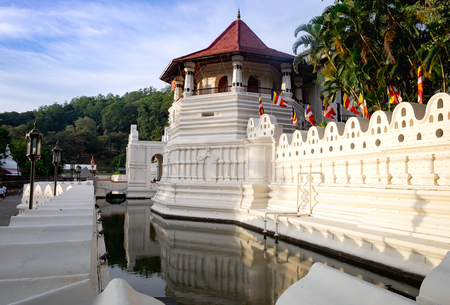 KANDY SRI LANKA, AUGUST 04-2019: Famous Buddha Temple of the Sacred Tooth Relic at Kandy,Sri Lanka -UNESCO World Heritage Site. This one of the famous destination for tourist.