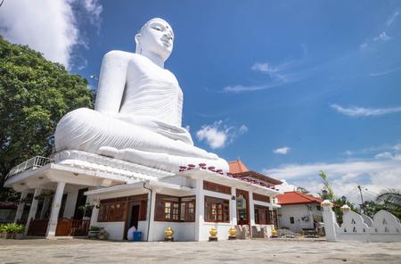 Kandy Sri Lanka - AUG 5 2019: Kandy - The big Buddha statue (Bahirawakanda Vihara Buddha Statue) on the top of the mountain in Kandy, Sri Lanka.