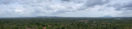 Landscape forest and mountain aerial view form Sigiriya rock, Sri Lanka, panoramic view, which dominates the jungle from all sides, Dambulla in Sri Lanka.