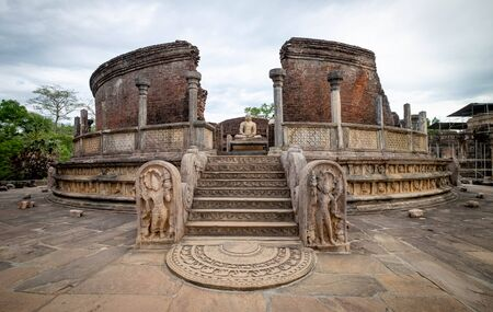 The Polonnaruwa Vatadage - ancient Buddhist structure. ancient city of Polonnaruwa, one of the destination for travel, Sri Lanka
