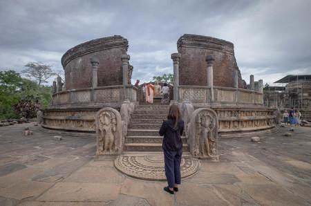 Polonnaruwa, Sri Lanka - 7 AUGUST 2019. The Polonnaruwa Vatadage - ancient Buddhist structure. Unesco ancient city of Polonnaruwa, one of the destination for travel, Sri Lanka