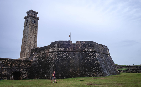 GALLE, SRI LANKA - AUGUST 10 2019: Memorial Clock Tower in Galle the largest city of the south of Sri Lanka.  The fortress has been built by the dutch. It' s popular for travel. Editorial