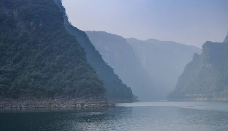 View at Yangtze river for the traveler along with the three gorges area, The part of the Yangtze River in Yichang city, Hubei province China. The tree goreges dam is the clectric biggest dam in the world. Reklamní fotografie