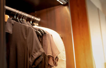 The earth tones shirt hanging in the brown modern wardrobe for the new interior design with the built-in and walkin closet concept.