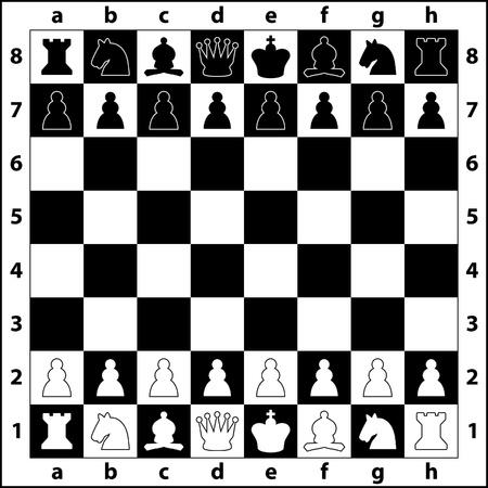 tablero de ajedrez: las posiciones iniciales de las piezas de ajedrez en el tablero de ajedrez