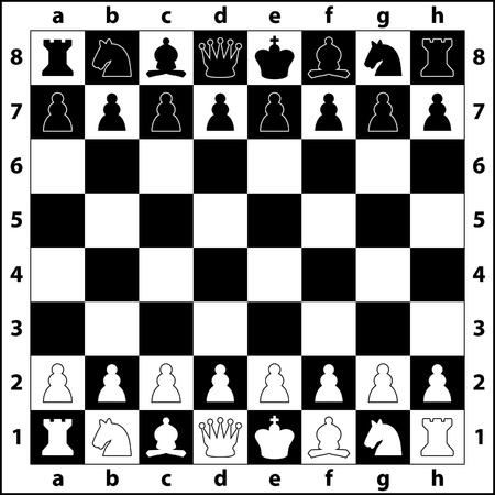 the starting positions of the chess pieces on the chess board Vector