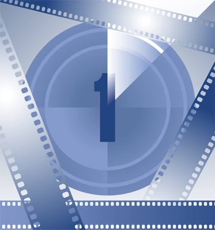 movie projector: film countdown at number 1 Illustration
