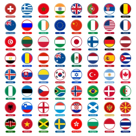 geography of europe: flags icons Illustration