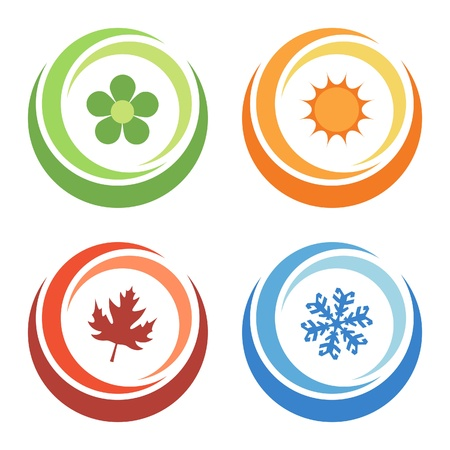 hot and cold: four seasons elements Illustration