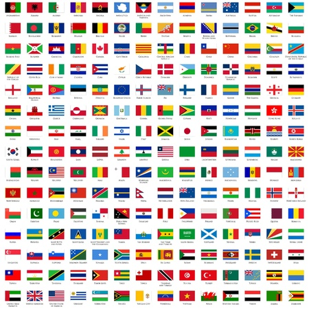 alphabetically sorted flags of the world (3x2) with official RGB coloring and detailed emblems Illustration