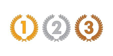 first prize: laurel wreath medals