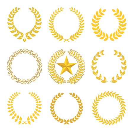 golden laurel wreaths Stock Vector - 15925270
