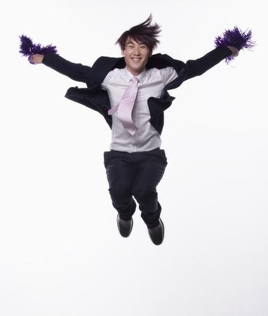 businessman jumping: Businessman Jumping and Cheering