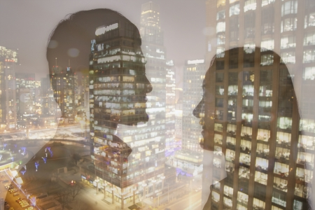 Double exposure of young couple over night cityscape  Stok Fotoğraf
