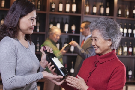 wine store: Two Women Examining Wine at a Wine Store Stock Photo