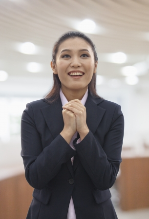 clasped: Businesswoman Hands Clasped Stock Photo