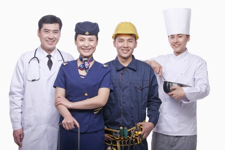 Portrait of Doctor, Air Stewardess, Construction Worker, and Chef- Studio Shot
