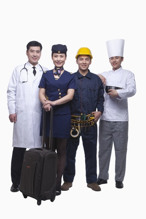 Portrait of Doctor, Air Stewardess, Construction Worker, and Chef- Studio Shot photo