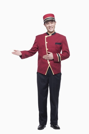 bellhop: Portrait of Bellhop, Greeting, studio shot