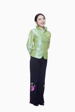 acomodador: Restaurante  Hotel Anfitriona en la ropa tradicional china, Encuadre de cuerpo entero