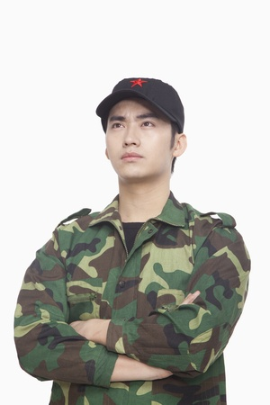 solider: Portrait of Solider, China, Studio Shot