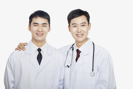 Portrait of two Doctors, Studio shot Imagens