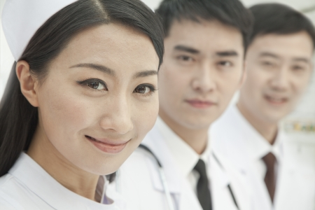 healthcare workers: Healthcare workers standing in a row, China, Close-up