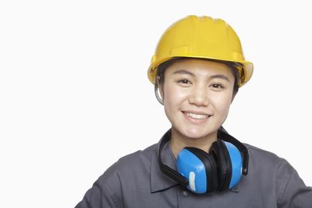 female construction worker: Female Construction worker, close up, portrait