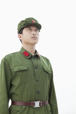 communists: Soldier Looking Towards Sky Stock Photo