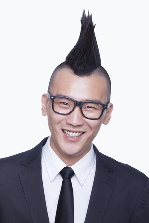 mohawk: Well-dressed young man with Mohawk portrait