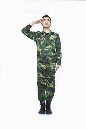 military uniform: Man in military uniform saluting