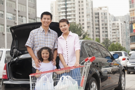 Family with shopping cart standing next to the car Stock Photo - 21121453
