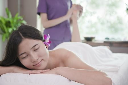 semi dress: Woman Receiving Foot Massage