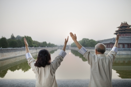 Two Chinese People Practicing Tai Ji Stock Photo