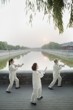 Three Chinese People Practicing Tai Ji Stock Photo
